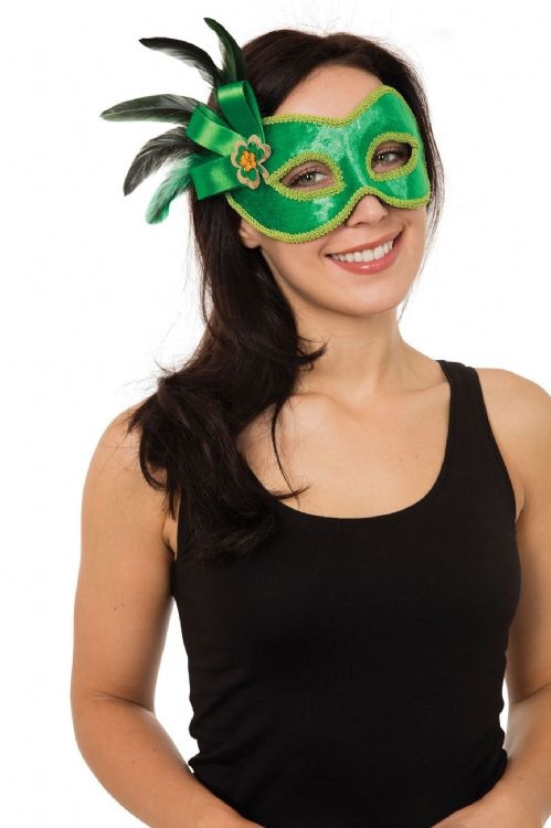 Green W/Side Decoration Mask Halloween Masquerade Trick Or TreatDecoration